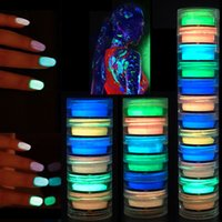 dip set groihandel-Party Glow In The Dark Nail Powder 6 Farben-Nagel-Skulptur Acrylkristallpulver Neon Floureszierendes Dipping Luminous Powder 6pcs / set