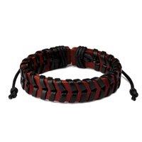 handmade кожаные браслеты рок оптовых-Модные мужские кожаные браслеты ручной работы плетеные ювелирные изделия дизайн хип-хоп рок панк мужчины черный коричневый браслеты для мужчин