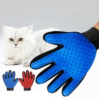 guantes de piel azul al por mayor-Guantes de peluquería para mascotas Cat Dog Deshedding Brush Glove Glove Massage Hair Removal Tool Azul Rojo Venta al por mayor de Pet Removal Cat Gloves Rubber Floating