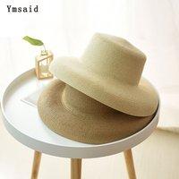 geniş ağızlı siyah şapka kadınlar toptan satış-Toptan Kadınlar Güneş Şapka Geniş Ağız Yaz Hasır Şapka 2019 Yeni doğal Siyah moda Katlanabilir Plaj Boater Şapka Kap Kentucky Derby Şapkalar
