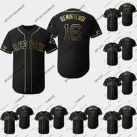 camisa de beisebol 15 venda por atacado-Boston 16 Andrew Benintendi 2019 edição de ouro Jerseys 2 Xander Bogaertsi 15 Dustin Pedroia 18 Mitch Moreland Red Sox camisas de beisebol