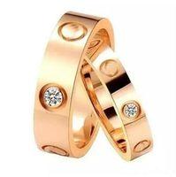 stainless steel screw venda por atacado-Top de Aço Inoxidável Anel de Amor 4mm 6mm de Ouro Rosa de Ouro de Prata Anel de Casamento para Mulheres Dos Homens Parafuso Anel