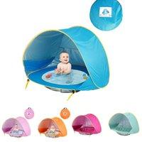 açık havada çadır çocukları toptan satış-Bebek plaj çadır bir havuz ile uv koruyucu güneşlik su geçirmez pop up tente çadır çocuk açık kamp güneşlik plaj dropship C23