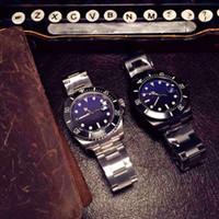 ingrosso pulsanti colorati perla-Orologio da uomo con cinturino in pelle color zaffiro con tre bottoni automatici in acciaio inossidabile color blu e nero