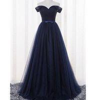 Venta Al Por Mayor De Hermoso Vestido Azul Marino Largo