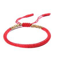 budist takılar toptan satış-EUB 100 ADET mix Renkler Aşk Şanslı Charm Tibet Bilezik Bilezik Kadın Erkek El Yapımı Knot Halat Budda Tibet Budist Bilezik