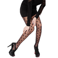 Wholesale tight lace for sale - Group buy 2019 Women fashion Sheer Lace Big Dot Pantyhose Stockings black White Tights C6032