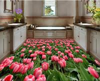 tulipán mural al por mayor-3D personalizada Suelo mural del papel pintado 3D piso hermoso tulipán Cuarto de baño 3D Mural piso impermeable de PVC vinilo autoadhesivo papel pintado Home Decor