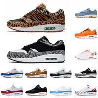 zapatillas de correr de calidad para hombres. al por mayor-Nike Air Max 1 x Atmos para correr para hombre 87s Zapatillas de deporte 87 OG Anniver Obsidian Parra Leopard Lo que la impresión de deportes diseñador zapatillas tamaño 36-45
