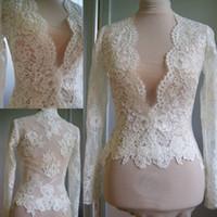 Wholesale white long sleeve bridal shawls for sale - Group buy Ivory Lace Wedding Wrap Bolero Jacket White Bridal Long Sleeves Tops Shawl V Neck Custom Made