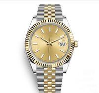 automatic sport mens watches оптовых-41 мм Мужские Часы Спортивные Автоматические Механические Наручные Часы Два Тона Золотой Циферблат Дизайнерские Наручные Часы Reloj Модное Платье Повседневные Часы Простой