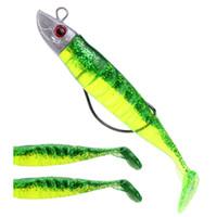 Wholesale jig lure tail resale online - Amlucas cm g cm g Jig Head Soft Bait T Tail Artificial Lures Worm Hook Fish Seabass Fishing Bait Black Minnow Set WW1133