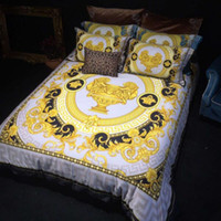 Wholesale royal bedding resale online - High end luxury royal french italy design rococo print medusa brand king queen size quilts white blue gold wedding bedding sets