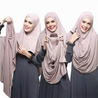 Wholesale plain jersey scarfs for sale - Group buy 2019 women plain instant cotton jersey scarf Head hijab wrap solid color shawls foulard femme muslim hijabs store ready to wear