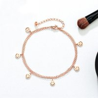 Wholesale gold jewe resale online - 1q9tJ Electroplated S925 rose gold anklet women s Japanese and Korean style white copper jewelry tassel double layer smiley face anklet jewe