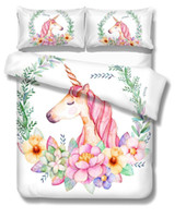 Wholesale kids cartoon bedding set king size resale online - BEST WENSD9Unicorn Bedding Set Cartoon Duvet Cover Pillow Cases Twin Full Queen King Super King Size Kid Bedclothes Bed Cover