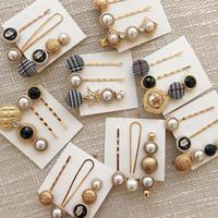 ingrosso ragazza della corea impostata-New Korea Female Forcine Set per le donne Ragazze Fashion Simulato-perla Stone Clips Hairwear Jewelry Accessories Mix Designs