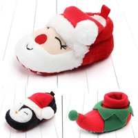 детская обувь оптовых-Детское Рождество Обувь для новорожденных Санта-Клаус Флис Первые Ходунки Мягкие донные Xmas малышей обувь Детские Зимние теплые Рождественский подарок