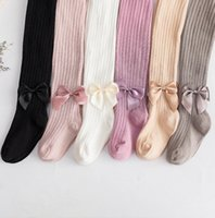 Wholesale style chinese knot resale online - Spring autumn girl leggings for children bow knot pencil pants baby girl tights soft cotton trousers good quality