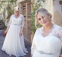 Wholesale plus size wedding dresses beaded tops resale online - 2020 Plus Size A Line Wedding Dresses V Neck Long Sleeves Lace Top Chiffon Beaded Sash Floor Length Bridal Gowns Vestidos De Novia