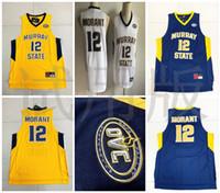 mini yarışçılar toptan satış-Murray State Racers 12 Ja Morant Forması Temetrius Jamel Koleji Basketbol Üniversite Gömlek Giyer Sarı Mavi Beyaz OVC Ohio Valley NCAA
