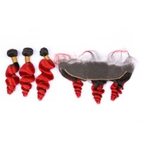 Wholesale brazilian loose wave two tone hair resale online - Ombre Color B Red Deep Curly Bundles With Frontal Two Tone Loose Wave Ear To Ear Frontal With Hair Weft Extensions