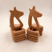 cadeias de cavalos venda por atacado-10 pcs Infantil De Madeira forma de cavalo Teethers para o Bebê Crianças Molar Chupeta Cadeia Colar de Brinquedos Grau Alimentício Faia Brinquedo Formação de Dentição