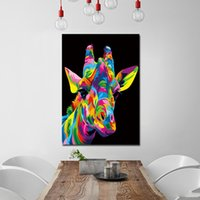 Wholesale wall art oil painting giraffe resale online - 1 Canvas Art Painting The Royal Giraffe HD Printed Wall Art Home Decor Poster Picture for Living Room