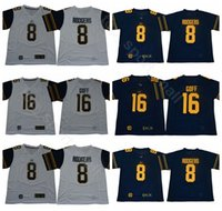 e744aebdb 2019 College Football 8 Aaron Rodgers Jersey Men California Golden Bears 16  Jared Goff Jerseys Navy Blue White Breathable Free Shipping