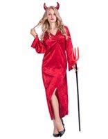 şeytan cosplay toptan satış-Cadılar bayramı Cosplay Kadın Şeytan Elbiseler Tasarımcı Ekip Boyun Uzun Kollu Giyim Festivali Parti Kulübü Bölünmüş Kostümleri