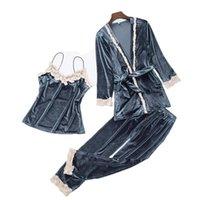 langarm-pyjamas neuankömmlinge großhandel-Neue Ankunfts-Samtpyjamas für Frauen langärmlige reizvolle Spitze Sleepwear gesetzte beiläufige Nachtwäsche des süßen Mädchens Pyjama 3 PC-Pyjamaklage