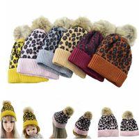 Wholesale fleece warm hats kids resale online - Free DHL INS Colors Leopard warm fleece Soft Skull Cap pom pom baby Knitted Faux fur ball winter knit kid Earflap Cap