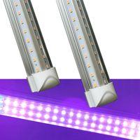 bombillas led ultravioleta al por mayor-Rosa Color Púrpura UVA 395nm 400nm 390nm Luces de tubo UV LED T8 Blacklight Integrado V en forma de bulbo de la lámpara ultravioleta Desinfección Germ