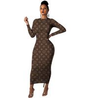 uzun kollu maxi elbise stili toptan satış-Çok tarzı marka tasarım mektup baskı Maxi Elbiseler seksi O-boyun Uzun kollu BODYCON elbise parti elbiseler moda kadın Günlük Elbiseler