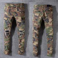 camouflage hosen männer schlank großhandel-Beste Qualität USamr Style Camouflage Männer Distressed Jeans Hosen Flares Patches Skinny Fit Camo Jeans Slim Denim Hosen