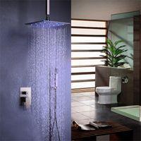 Wholesale brushed stainless steel ceiling resale online - Modern Brushed Nickel Bathroom Ceiling Mount Inches Rain Shower Head Handheld Shower System Stainless Steel