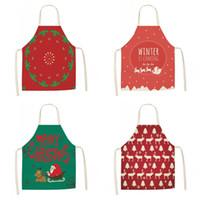 Wholesale santa claus apron for sale - Group buy Home Kitchen Pinafore Cotton Linen Elk Santa Claus Stocking Pattern Women Apron Cartoon Print Party Aprons For Christmas Decration8 my E1