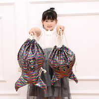 Wholesale drawstring bag brown resale online - Mermaid Sequin Backpacks Shoulder Reversible Women Girls Bling Shining Bag Glittering Drawstring Travel Pouch MMA1354