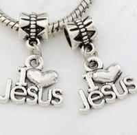 ingrosso branello d'amore tibetano-I Love Jesus Charms Beads 24x16mm Pendenti in argento tibetano Creazione di gioielli adatti Bracciale Collana Orecchini Uomo Accessori donna 100Pcs