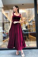 Wholesale hot pink formal plus dress resale online - 2020 Modest Spaghetti Straps Prom Dresses A Line Ankle Length Burgundy Velvet Formal Evening Occasion Party Dresses Hot Sale