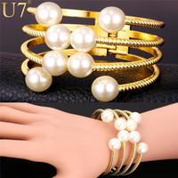 brazaletes de joyería u7 al por mayor-Venta al por mayor-U7 Pulseras de perlas para mujer Moda 18K Joyas chapadas en oro Venta al por mayor Multi Capas Pulseras Brazaletes Joyas de perlas