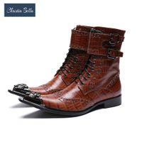erkekler metal ayakkabı işaret etti toptan satış-Christia Bella Sonbahar Toka Erkek Ayakkabı Hakiki Deri Çizmeler Moda Metal Sivri Burun Çizmeler Büyük Boy Fermuar Ayak Bileği