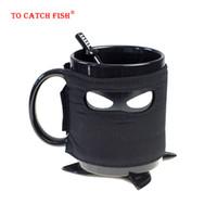Wholesale japanese mugs resale online - Creative Japanese samurai Mug Black Mask Ceramic Cup With Spoon Sword Coffee Milk Tea Mugs Milk Coffee Tea Cup Mugs T200104
