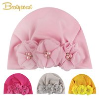 Wholesale newborn beanie flower for sale - Group buy Flowers Baby Hat with Beading Baby Beanie Kids Cap for Girls Toddler Turban Hat Newborn Photography Props Infant Accessories