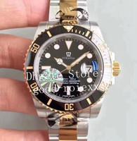 reloj de lujo para hombre sub al por mayor-Hombres de lujo Automático Eta 2836 Reloj Hombres Negro Bisel de cerámica Dial Oro Acero Dive Sport 116613 Sub Relojes Fecha JF Relojes de pulsera perpetuos