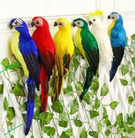kuşlar el yapımı toptan satış-25/35 cm El Yapımı Simülasyon Papağan Yaratıcı Tüy Çim Heykelcik Süs Hayvan Kuş Bahçe Kuş Prop Dekorasyon