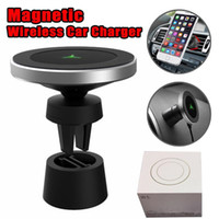 Wholesale retail package universal packaging for sale - WP W5 Wireless charger Degree Universal Magnetic Car holder Mount Air Vent Stand Holder For iPhone XS Samsung S9 with Retail Package