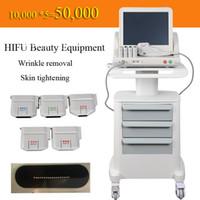 yüz kırışıklık makinesi toptan satış-Tıbbi Sınıf HIFU Yüksek Yoğunluk yüz ve vücut için 5 Kafalı Ultrason HIFU Yüz Germe Makinası Kırışıklık Kaldırma Odaklı