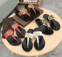 Wholesale toes covers flat sandals for sale - New Fashion Women s Casual sandals female Leather Slippers beach Shoes woman Luxury design flip flops Peep Toe Sandals G85