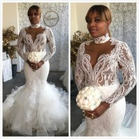 Wholesale wedding dresses sleeves plus size purple for sale - Group buy 2019 Arabic Aso Ebi Plus Size Lace Backless Sexy Wedding Dresses High Neck Mermaid Bridal Dresses Long Sleeves Wedding Gowns ZJ324